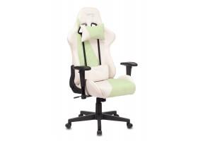 Кресло игровое Zombie VIKING X Fabric белый/зеленый с подголов. крестовина пластик