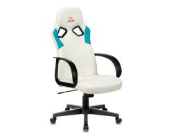 Кресло игровое Zombie RUNNER белый/голубой искусственная кожа крестовина пластик
