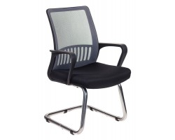 Кресло Бюрократ MC-209 темно-серый TW-04 сиденье черный TW-11 сетка/ткань полозья металл хром