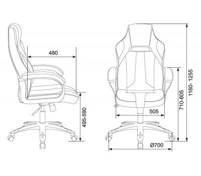 Кресло игровое Zombie VIKING 2 AERO черный/желтый искусст.кожа/ткань крестовина пластик