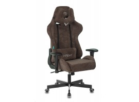 Кресло игровое Zombie VIKING KNIGHT Fabric темно-коричневый Light-10 с подголов. крестовина металл