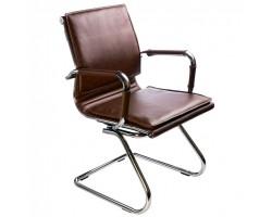 Кресло Бюрократ Ch-993-Low-V коричневый искусственная кожа низк.спин. полозья металл хром