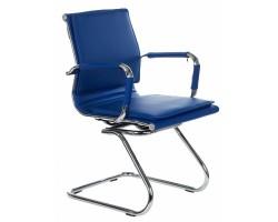 Кресло Бюрократ CH-993-Low-V синий искусственная кожа низк.спин. полозья металл хром